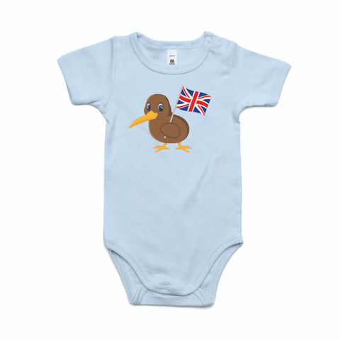 Kiwi Holding Flag Infant's Onesie -British